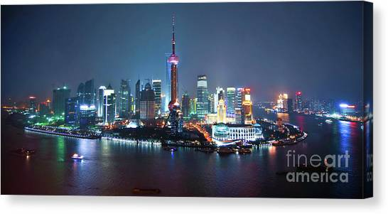 Shanghai Skyline Canvas Print - Shanghai Panorama by Delphimages Photo Creations