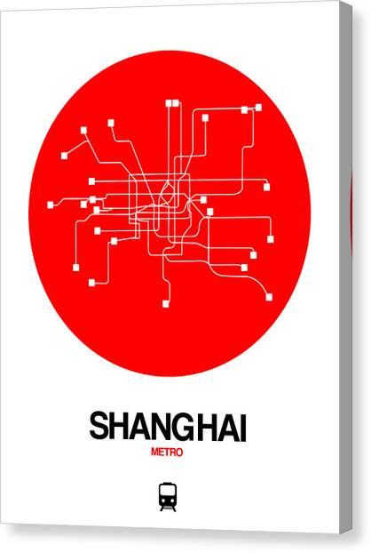 China Town Canvas Print - Shanghai Red Subway Map by Naxart Studio