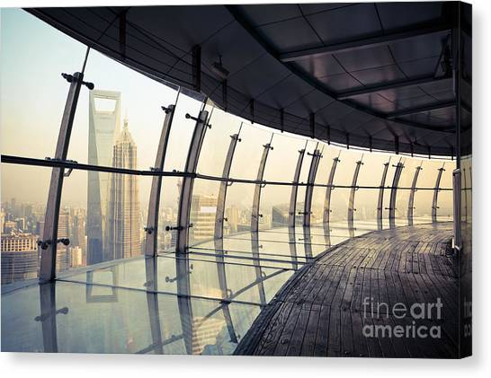 Tv Tower Canvas Print - Shanghai Scenery, View From The by Chuyuss