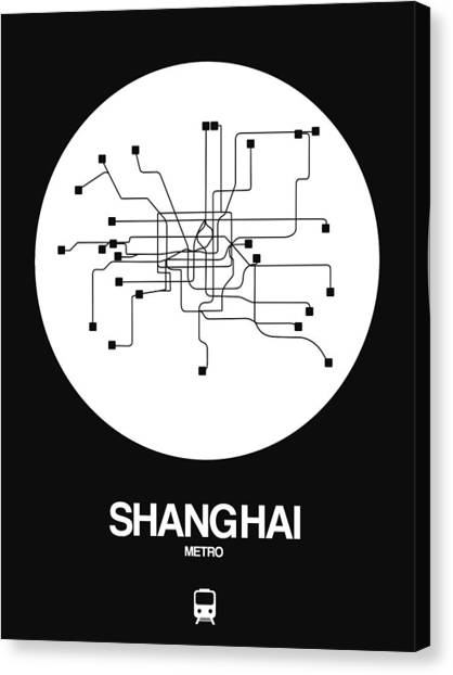 China Town Canvas Print - Shanghai White Subway Map by Naxart Studio
