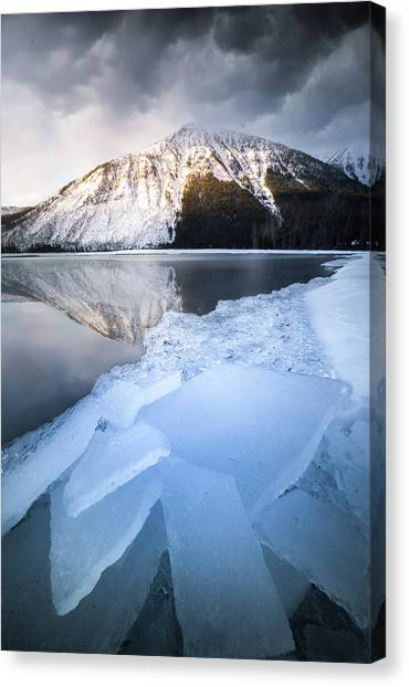 Canvas Print featuring the photograph Shattered Ice / Lake Mcdonald, Glacier National Park  by Nicholas Parker