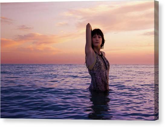 She Calms In Sea Canvas Print