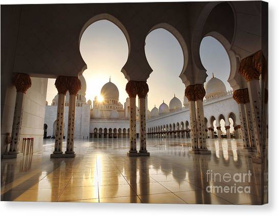 Worship Canvas Print - Sheikh Zayed Mosque In Abu Dhabi by Samot