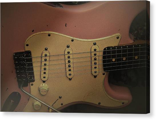 Shelly Pink Guitar Canvas Print