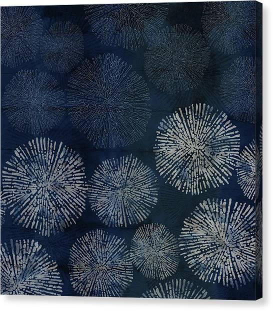 Shibori Sea Urchin Burst Pattern Dark Denim Canvas Print