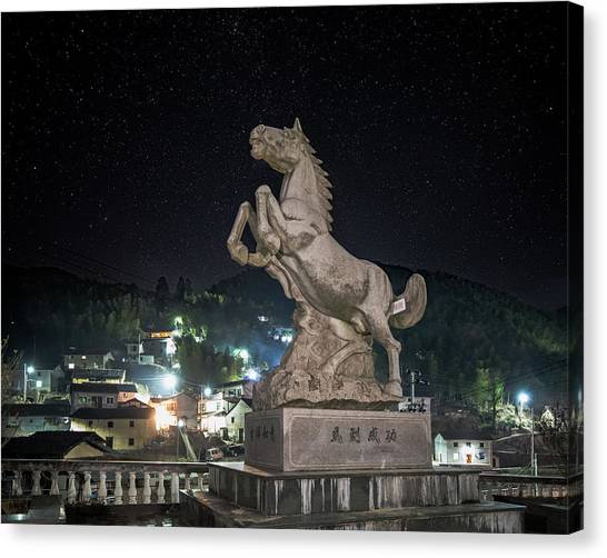 Canvas Print featuring the photograph Shima Village Starry Night by William Dickman