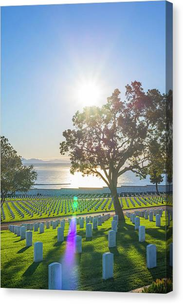 Fort Rosecrans National Cemetery Canvas Print - Shine A Light On Me by Joseph S Giacalone