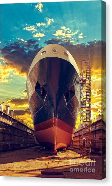 Freight Canvas Print - Ship In Dry Dock At Sunrise - Shipyard by Nightman1965