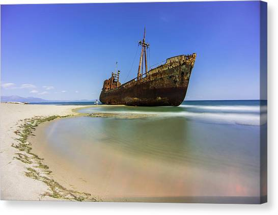 Canvas Print featuring the photograph Shipwreck Dimitros Near Gythio, Greece by Milan Ljubisavljevic