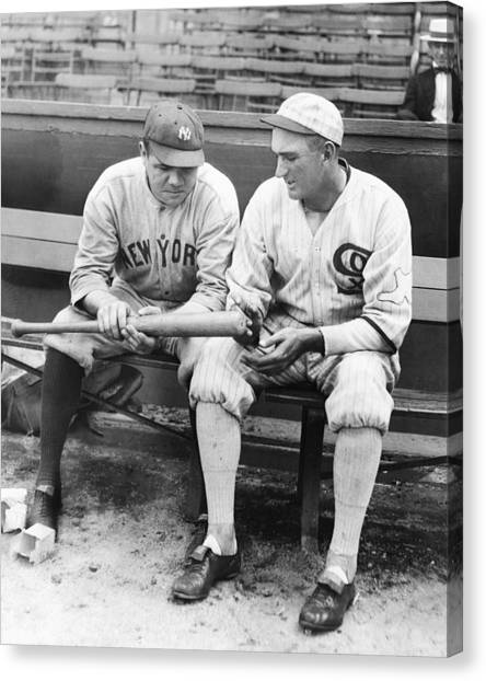 Shoeless Joe Jackson And Babe Ruth Canvas Print