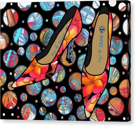 Shoes By Joan - Frangipani Pattern Pumps Canvas Print