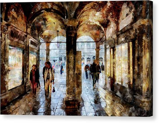 Shopping Area Of Saint Mark Square In Venice, Italy - Watercolor Effect Canvas Print