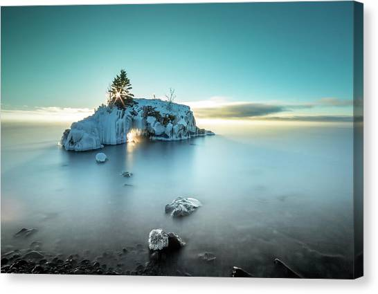 Canvas Print featuring the photograph Shoreline Light Show / Lake Superior, Minnesota  by Nicholas Parker