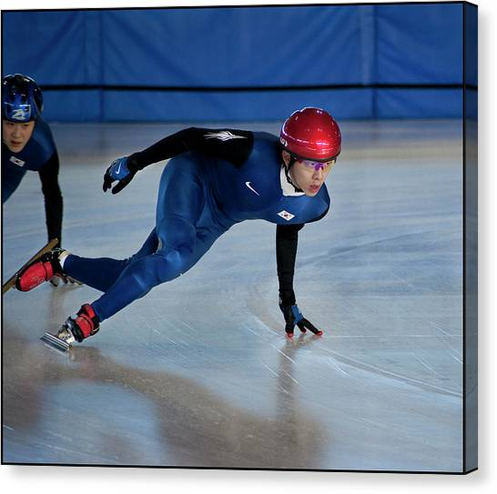 Speed Skating Canvas Print - Short Track 17 by Jim Sawers