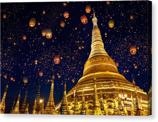 Worship Canvas Print - Shwedagon Pagoda With Larntern In The by Krunja