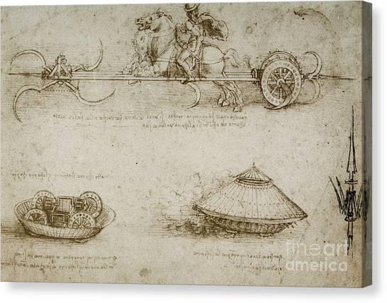 Rope Canvas Print - Sickle Tank by Leonardo Da Vinci