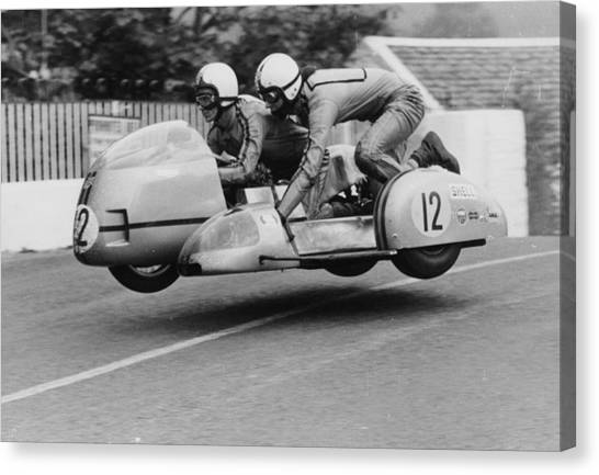 Sidecar Tt Race, Isle Of Man, 1970 Canvas Print