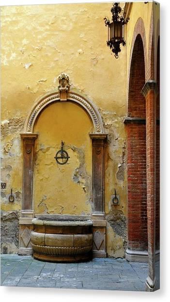 Sienna Fountain Courtyard Canvas Print