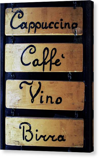 Sign Outside A Bar In Venice Canvas Print