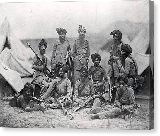 Sikh Soldiers Canvas Print by Felice Beato