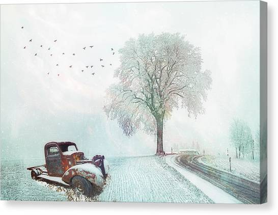 Rusty Truck Canvas Print - Silent In The Misty Snow by Debra and Dave Vanderlaan