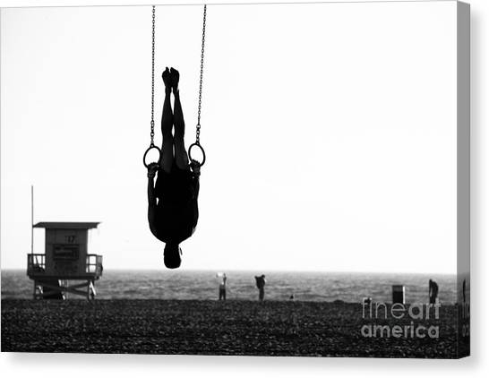 Exercising Canvas Print - Silhouette Of A Person Swinging On by Celso Diniz