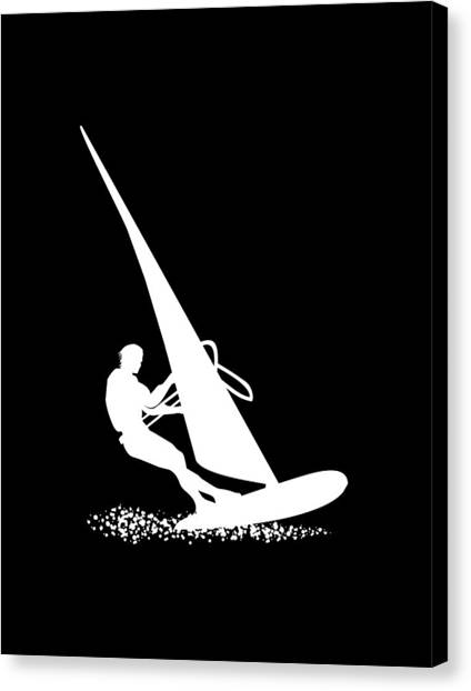 Surfboard Canvas Print - Silhouette Of A Sportsman Doing Windsurfing On His Board With Sail by Daniel Ghioldi