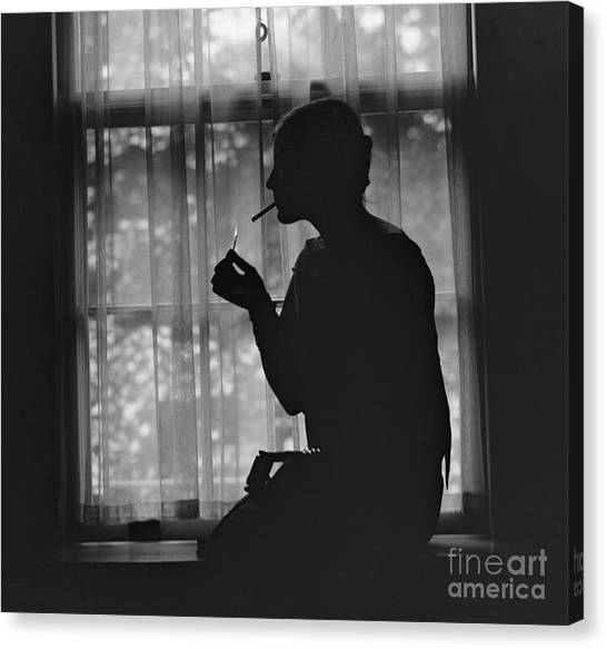 Rights Canvas Print - Silhouette Of A Stylish Women Smoking by Everett Historical