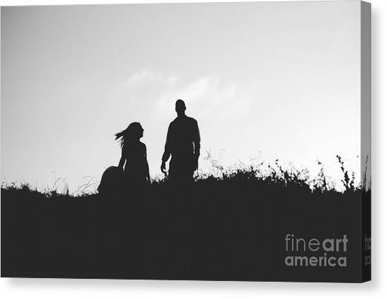 Silhouette Of Couple In Love With Wedding Couple On Top Of A Hil Canvas Print