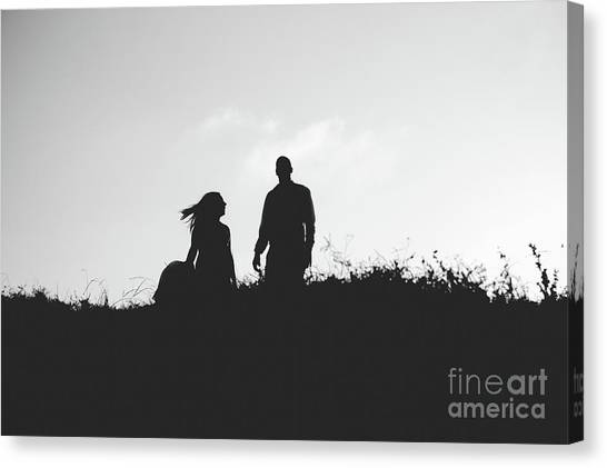 Silhouette Of Couple In Love With Wedding Couple On Top Of A Hill Canvas Print