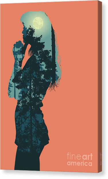 Shadow Canvas Print - Silhouette Of Girl And Night Forest by Jumpingsack