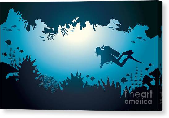 Sea Life Canvas Print - Silhouette Of Scuba Diver And Coral by Natali Snailcat