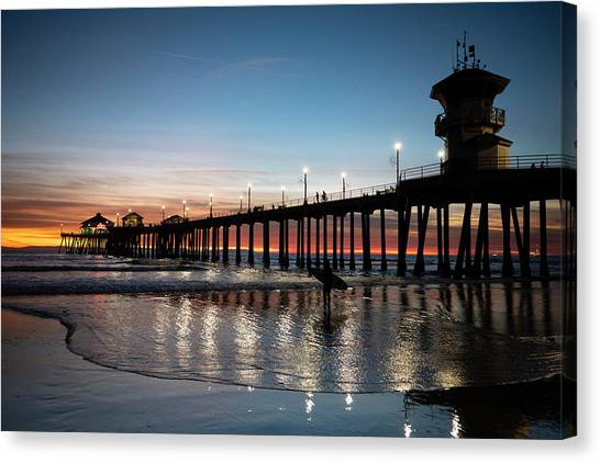 Canvas Print - Silhouette Of Surfer At Huntington by Panoramic Images