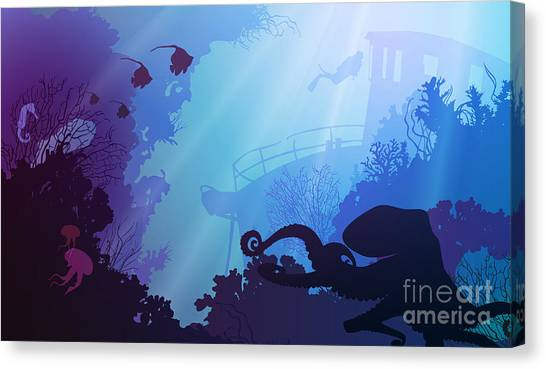 Silhouette Of Underwater Marine Life Canvas Print by Eva mask