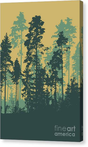 Shadow Canvas Print - Silhouettes Of Coniferous Forest by Jumpingsack