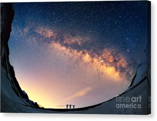 Happiness Canvas Print - Silhouettes Of The People Standing by Anton Jankovoy