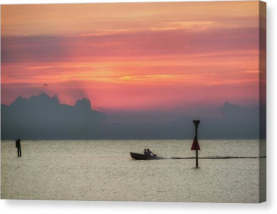 Canvas Print featuring the photograph Silhouette's Sailing Into Sunset by Nathan Bush