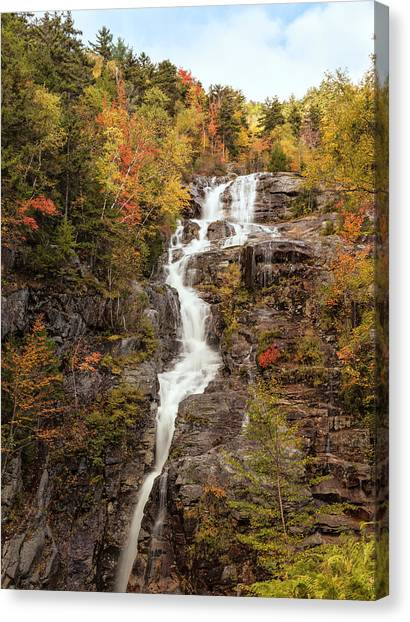 Silver Cascade Waterfall, White Canvas Print by Picturelake