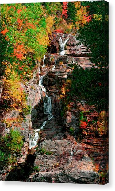 Silver Cascades In The White Mountains Canvas Print by Myloupe/uig