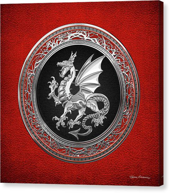 Silver Winged Norse Dragon - Icelandic Viking Landvaettir On Black And Silver Medallion Over Red  Canvas Print