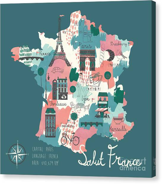 Wine Country Canvas Print - Simple Cartooned Map Of France With by Lavandaart