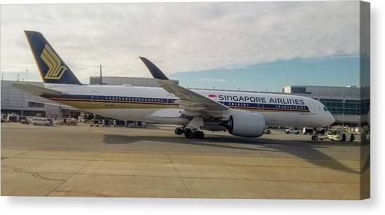 Singapore Airlines Airbus A350 At San Francisco International Airport Canvas Print