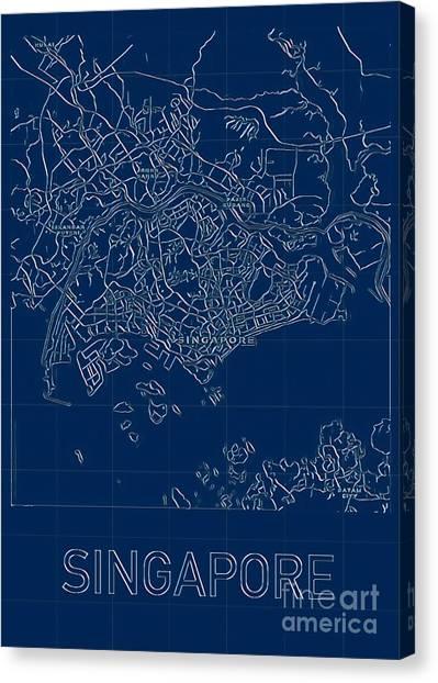 Singapore Blueprint City Map Canvas Print