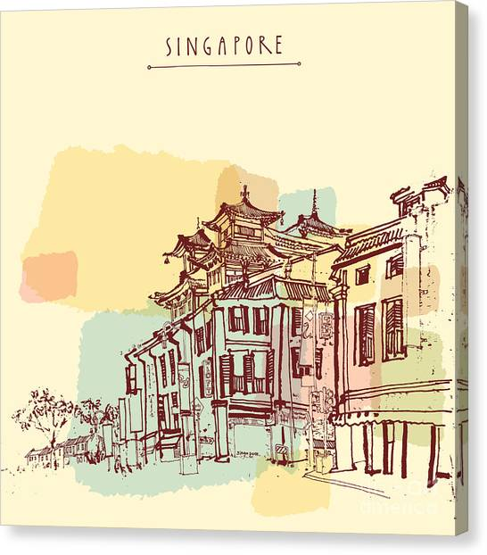 Worship Canvas Print - Singapore China Town Drawing. Vintage by Babayuka
