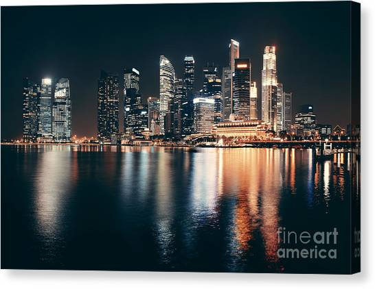Singapore Skyline At Night With Urban Canvas Print by Songquan Deng