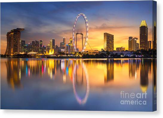 View Canvas Print - Singapore Skyline. Singapore`s Business by Anek.soowannaphoom