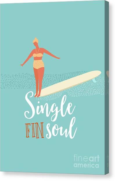1950s Canvas Print - Single Fin Longboard Surfing by Nicetoseeya