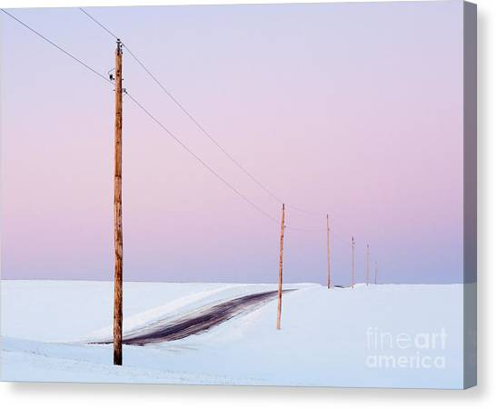 Rolling Hills Canvas Print - Single Phase Electrical Power Lines by Todd Klassy