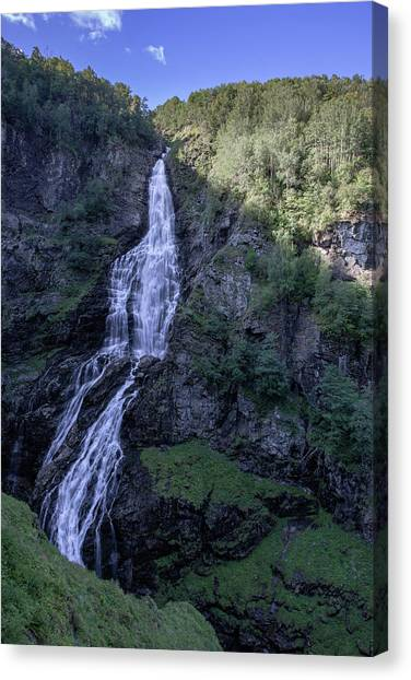 Canvas Print featuring the photograph Sivlefossen, Norway by Andreas Levi