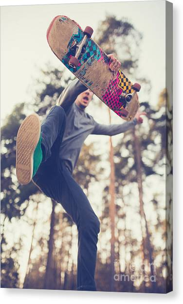 Exercising Canvas Print - Skater Guy Jumps by Aleshyn andrei